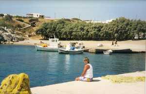 Jan on pier at Koufonisia