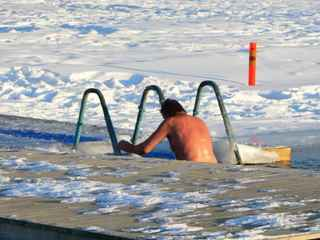 Ice swimming in winter