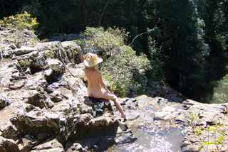 Cheryl relaxing at Gypsy Falls