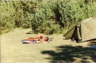Jan outside tent