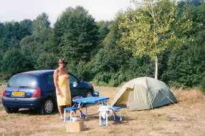 Jan outside tent - Le Colombier