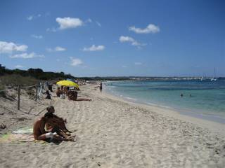 People enjoying the beach on Formentera