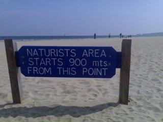 Naturist zone sign