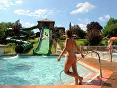 Swimming pool and slide at Domaine Laborde