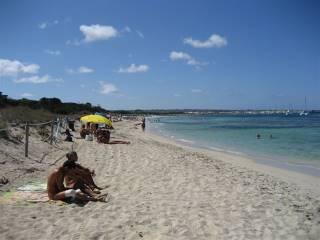 People enjoying the beach on Formentera