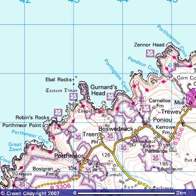 Map of Zennor area